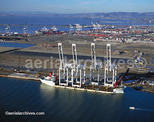 &copy aerialarchives.com aerial photograph of Port of Oakland in San Francisco bay CA, AHLB3769