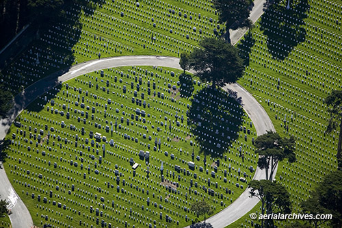 &copy aerialarchives.com aerial photograph National Cemetery Presidio San Francisco AHLB2193 BNKR91