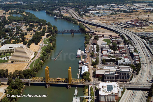 &copy aerialarchives.com aerial photograph of Sacramento River and Old Town Sacramento California, CA, AHLB2866.jpg, ADM2N7