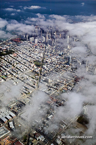 Aerial Photography San Francisco Toward Transamerica Fog
