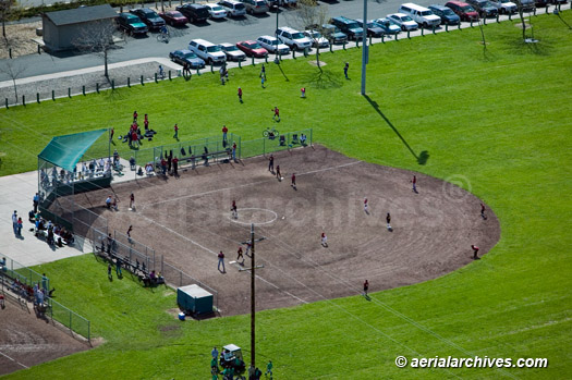 &copy aerialarchives.com aerial photograph of Little League Baseball Game Event in Petaluma California AHLB3582c.jpg, AHFH4X