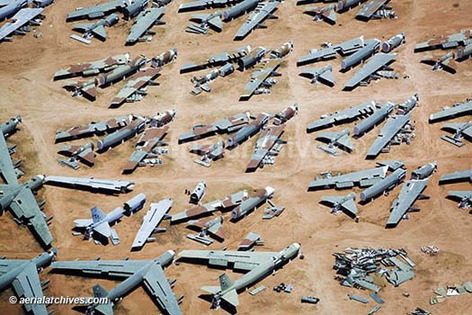 &copy aerialarchives.com military aircraft boneyard, Davis Monthan Air Force Base,   <BR> Tucson, Arizona; aerial photograph, AHLB3543.jpg, AHFH6R