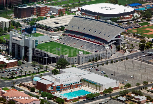 &copy aerialarchives.com  aerial photograph of the University of Arizona, Tucson stadium AHLB3544R.jpg, AHFFWX
