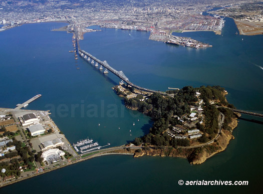 &copy aerialarchives.com Aerial Photograph showing view of the Eastern Cantileavered Span of the Bay Bridge with Yerba Buena island in the foreground and Oakland in the background AHLB3597.jpg, AC4A6X