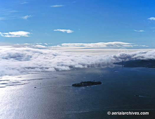 &copy aerialarchives.com Fog Rolling into San Francisco Bay through the Golden Gate with Alcatraz in the foreground, AHLB3681, ABF41R