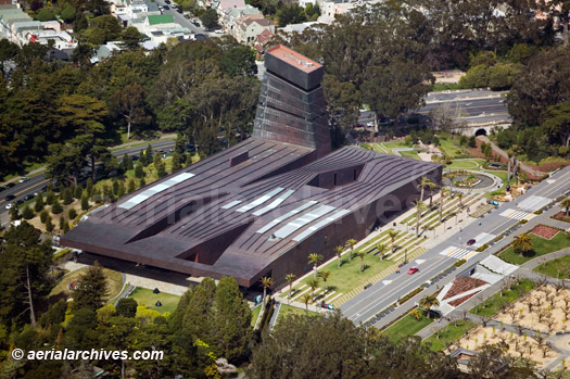 &copy aerialarchives.com aerial photograph M. H. de Young Museum, Golden Gate Park, Fine Art Museum in San Francisco, CA  designed by Jacques Herzog and Pierre de Meuron CA; AHLB3703 AC4A8M