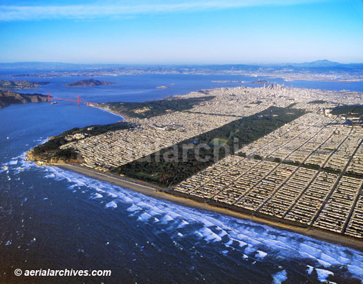 &copy aerialarchives.com aerial photograph of Golden Gate park San Francisco bay CA, AHLB3769
