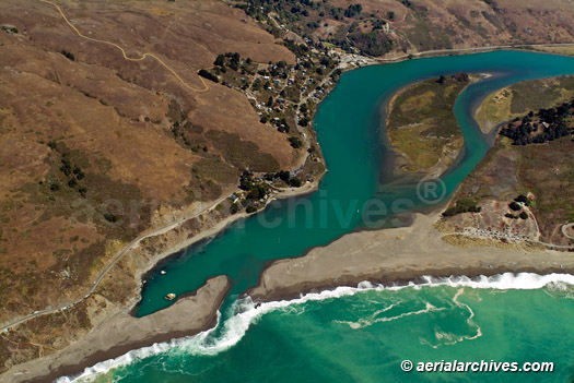 &copy aerialarchives.com aerial photograph Jenner and the mouth Russian River, Sonoma County