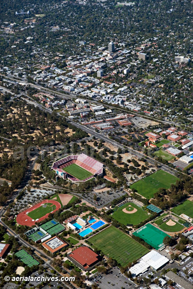 &copy aerialarchives.com aerial above Stanford University Stadium and athletic facilities with the City of Palo Alto, CA in the background AHLB4058