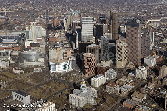 &copy aerialarchives.com aerial photography Colorado State Capitol and Denver Financial District