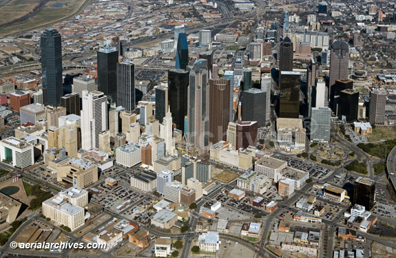 &copy aerialarchives.com aerial photography downtown Dallas, Texas