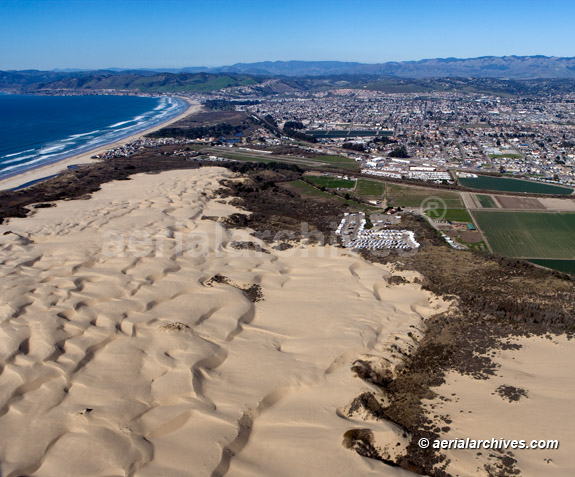 &copy aerialarchives.com aerial photograph of the Pismo Beach dunes City of Oceano, San Luis Obispo county California, CA; AHLB4607, B103M7