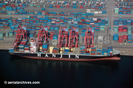 &copy aerialarchives.com Hanjin containership being unloaded at the Port of Long Beach, California, aerial image id: AHLB4681