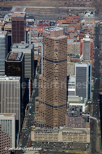 &copy aerialarchives.com, aerial photograph downtown Denver, Colorado, Qwest office tower, AHLB5062 B3MDB9