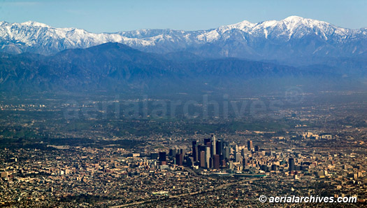 &copy aerialarchives.com downtown Los Angeles, CA, with aerial photographs mountains AHLB5081, B3N8X9