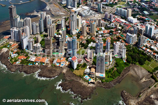 &copy aerialarchives.com aerial photograph of residential towers in Panama City, Panama AHLB5156, B3MGR2