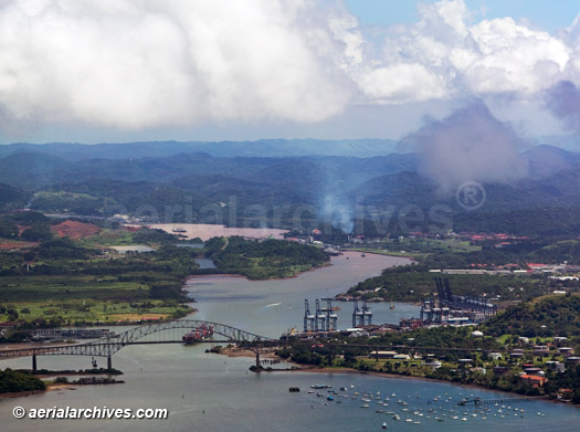 &copy aerialarchives.com aerial photograph of Balboa Port and the Pacific entrance to Panama Canal AHLB5161, B3MHA7
