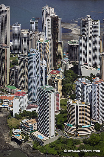 &copy aerialarchives.com aerial photograph of Panama City's waterfront residential towers AHLB5172, B3MHHX