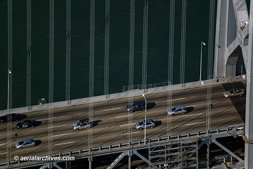 &copy aerialarchives.com Aerial Photograph of Traffic Moving Across the Western Suspension Span of the San Francisco Oakland Bay Bridge AHLB5942, BP2T9R