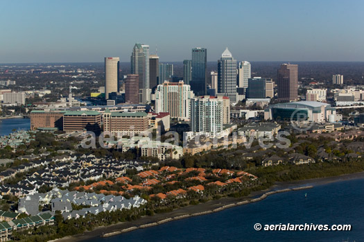&copy aerialarchives.com aerial photograph residential Tampa Florida skyline