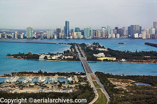 &copy aerialarchives.com aerial photograph Miami skyline Florida