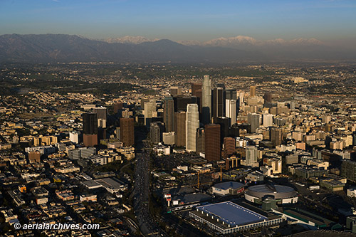 &copy aerialarchives.com downtown Los Angeles, CA, with aerial photographs mountains AHLB7472, BMRTBC