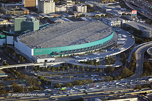 &copy aerialarchives.com convention center Los Angeles, CA,  aerial photographs AHLB7477, BMRTJ4