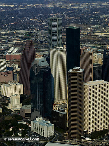 &copy aerialarchives.com aerial photography high rise office buildings downtown Houston, Texas, AHLB7548, BN49PD