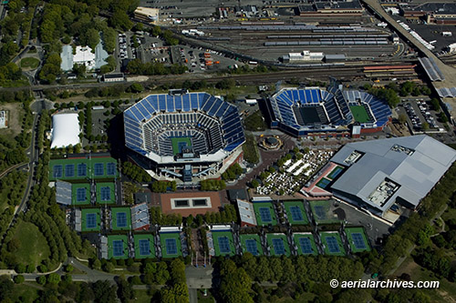 &copy aerialarchives.com  aerial photograph, Arthur Ashe Stadium,National Tennis Center, Queens, New York, AHLB7582 C0Y235