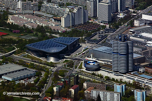 &copy aerialarchives.com,  aerial photograph  BMW Headquarters, Munich Germany, AHLB7591, C1D1R2