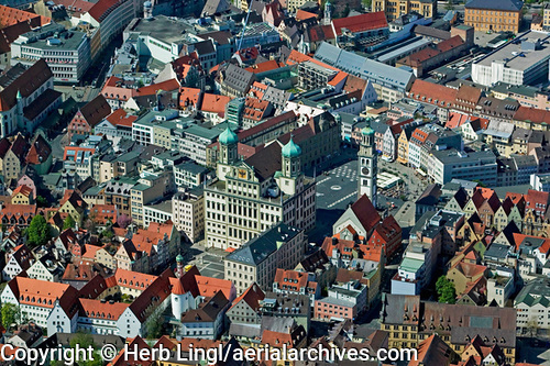 &copy aerialarchives.com,  aerial photograph of central Augsburg Germany, AHLB7597, C1D1W7