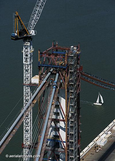aerial photograph construction crane Bay Bridge