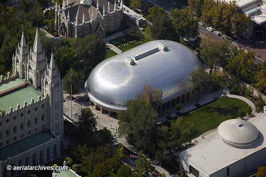 &copy aerialarchives.com Mormon Tabernacle, Salt Lake City, aerial photograph, AHLB9670