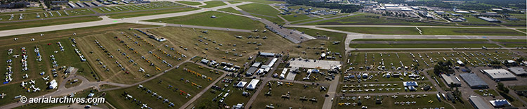 &copy aerialarchives.com panoramic aerial photograph AirVenture, Oshkosh, Wisconsin  AHLB9803