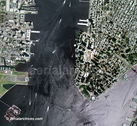 aerial photo map   New York harbor