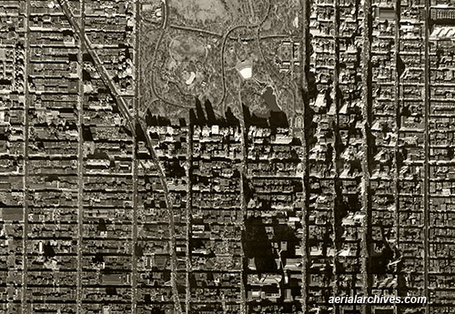 historical aerial photograph Midtown Manhattan New York City AHLV3271
