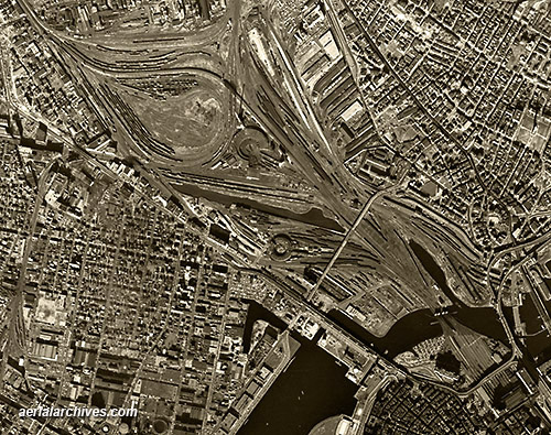 historical aerial photograph Boston Massachusetts infrastructure AHLV3284