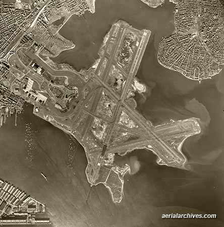 historical aerial photograph Logon International Airport Boston Massachusetts AHLV3287