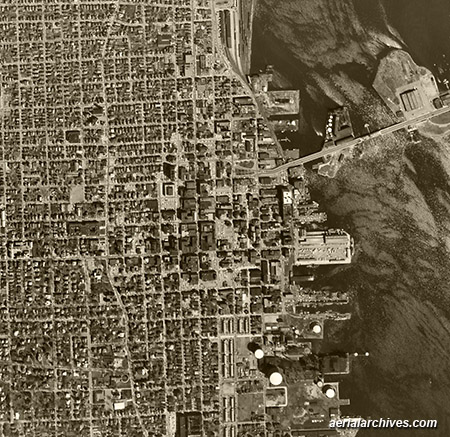historical aerial photograph downtown Chicago Illinois AHLV3291