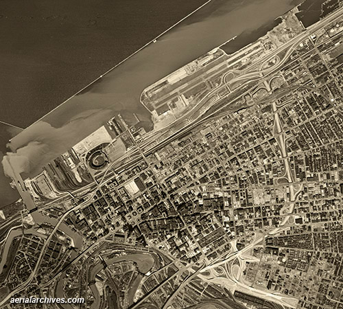 historical aerial photograph Burke Lakefront airport downtown Cleveland Ohio AHLV3297