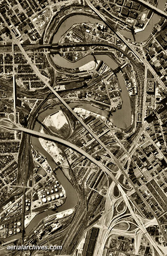 historical aerial photograph Burke Lakefront airport downtown Cleveland Ohio AHLV3300
