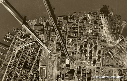historical aerial photograph Brooklyn New York AHLV3305