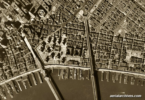 historical aerial photograph East River New York City AHLV3307