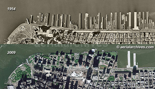 historical aerial photograph Hudson River New York City AHLV3409