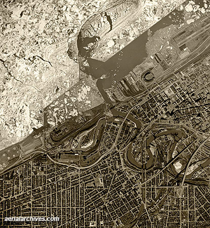 historical aerial photograph  downtown Cleveland Ohio AHLV3422