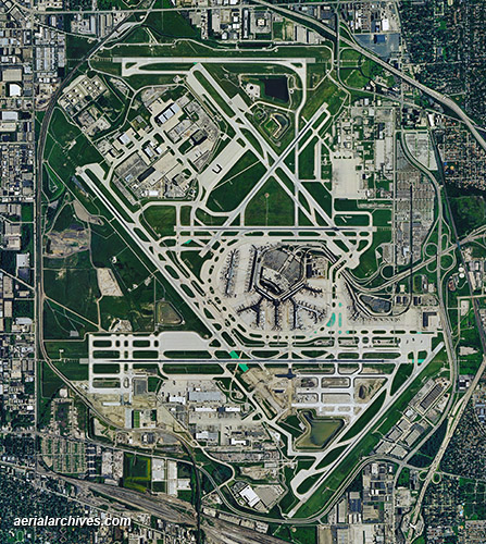&copy aerialarchives.com aerial photo map Chicago O'Hare International Airport